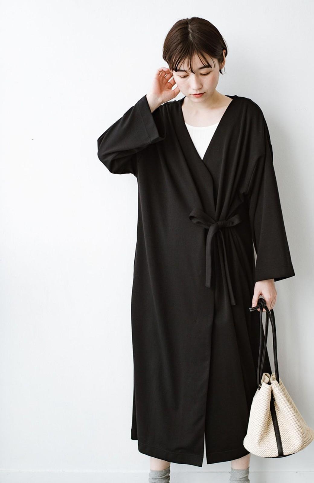 haco! サイドリボンと落ち感が女っぽい 羽織り&重ね着を楽しむカットソーワンピース <ブラック>の商品写真1