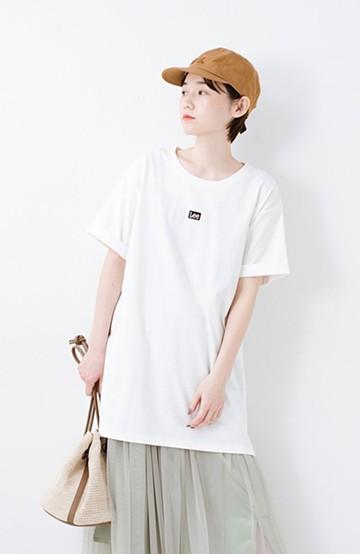 haco! 別注Lee ベルトでウエストマークしてもかわいいチュニックTシャツ <ホワイト>の商品写真