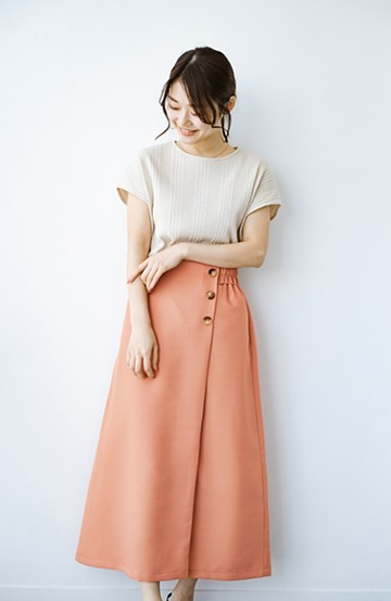 haco! これさえあればきれいなお姉さんになれそうな気がする 麻調素材のきれいめラップスカート <オレンジ>の商品写真
