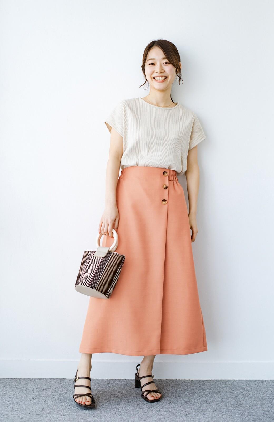 haco! これさえあればきれいなお姉さんになれそうな気がする 麻調素材のきれいめラップスカート <オレンジ>の商品写真2