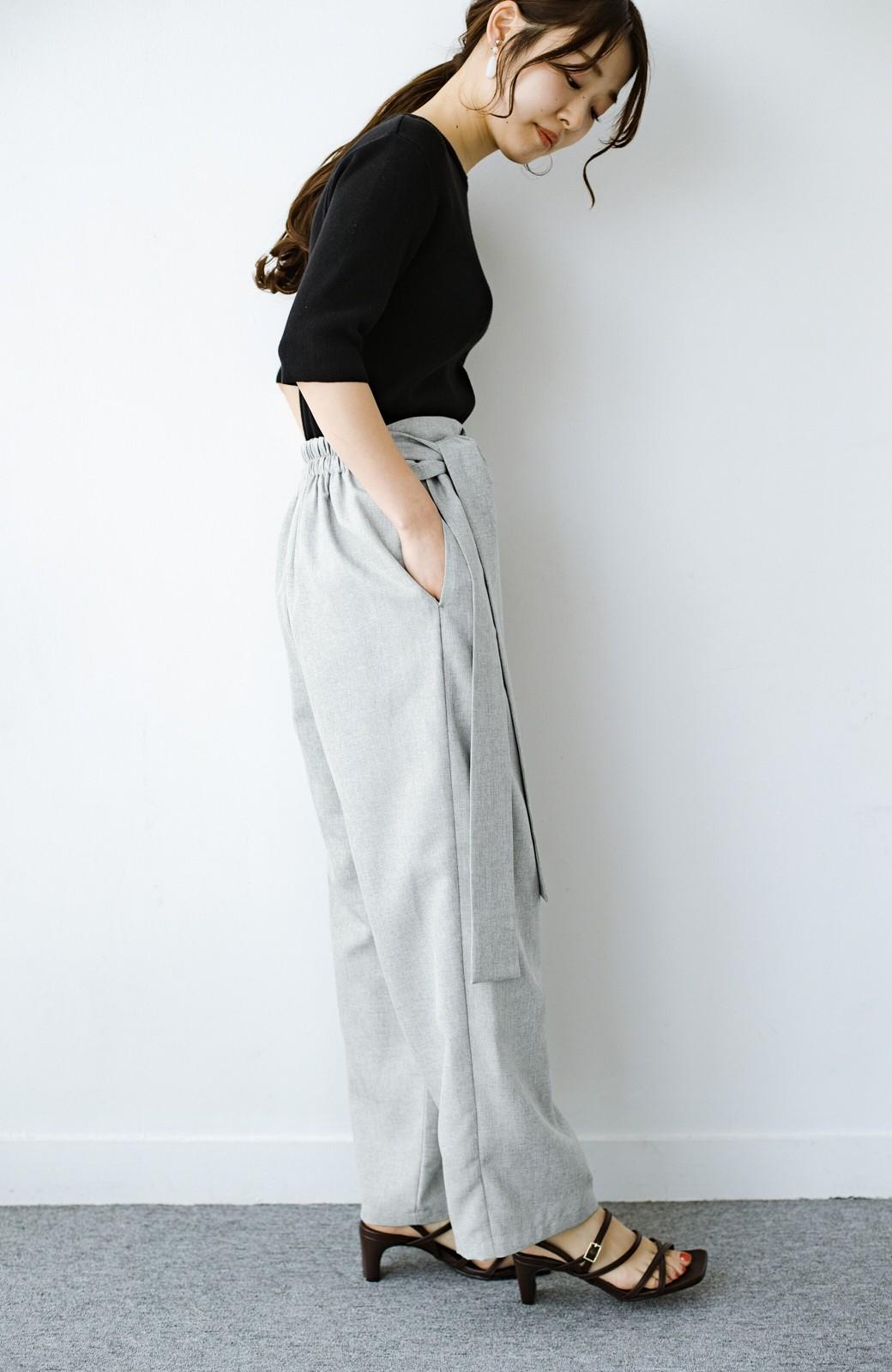 haco! パンツ派だけどきれいでいたい!を叶えてくれる 麻風素材のラップデザインパンツ <ライトグレー>の商品写真19