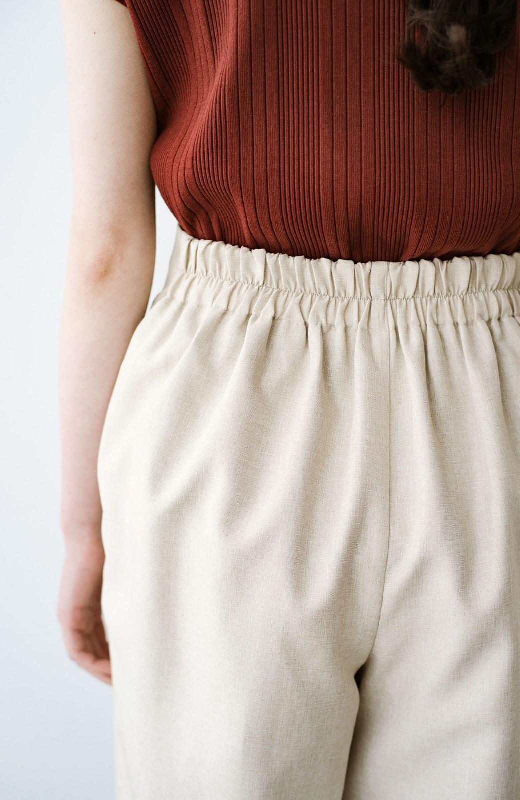 haco! パンツ派だけどきれいでいたい!を叶えてくれる 麻風素材のラップデザインパンツ <ライトベージュ>の商品写真8