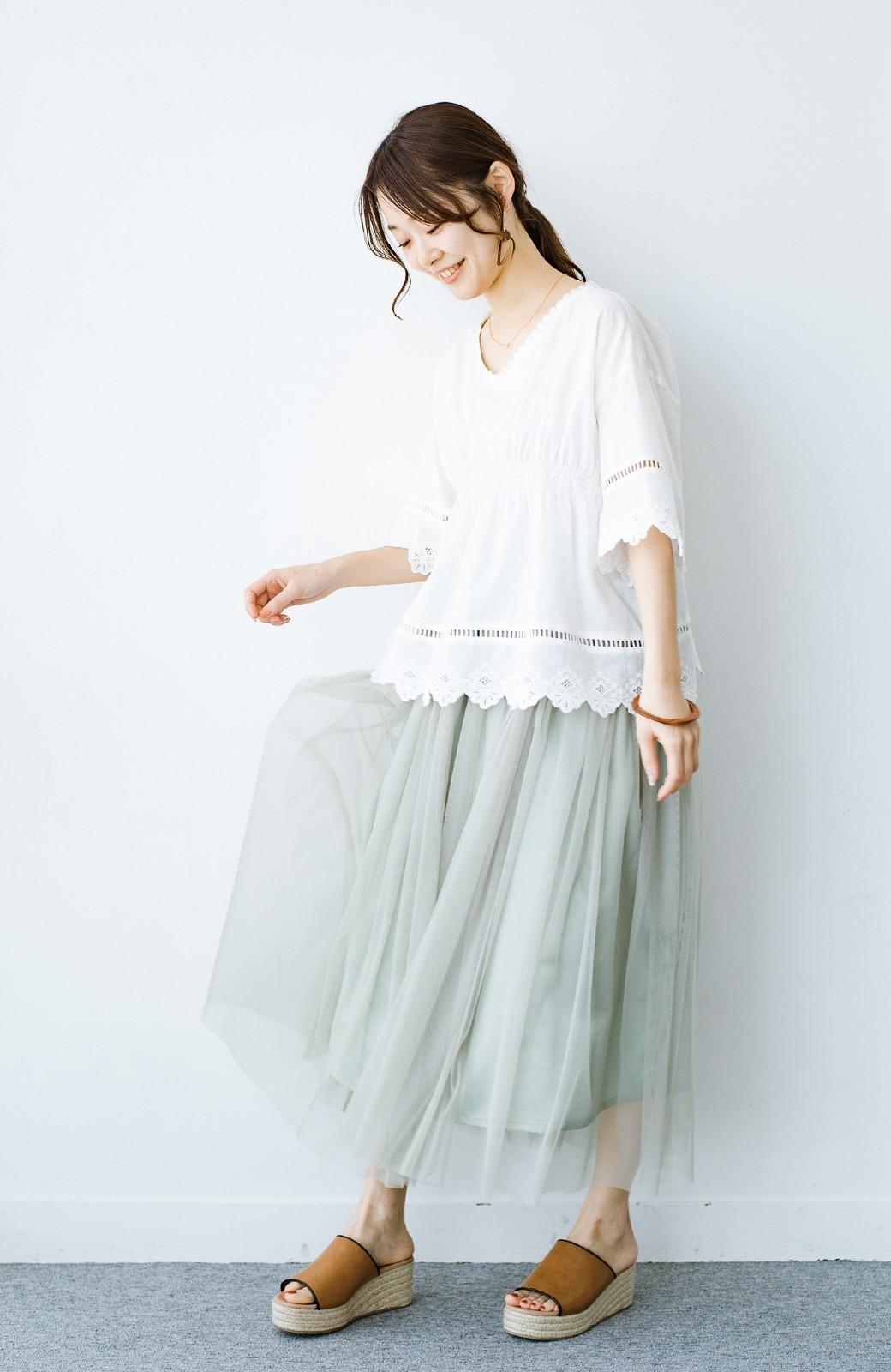 haco! 着るだけでルンとした気分になる! 長ーーい季節着られてずっと使えるオトナのためのチュールスカート <グリーン>の商品写真1