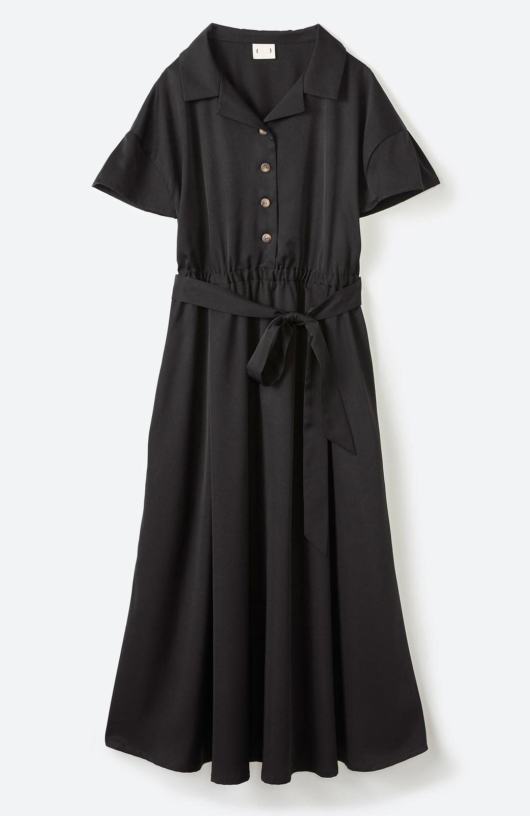 haco! きちんとしなきゃいけないけど可愛くいたいときに便利な とろみ素材の開衿ワンピース <ブラック>の商品写真14