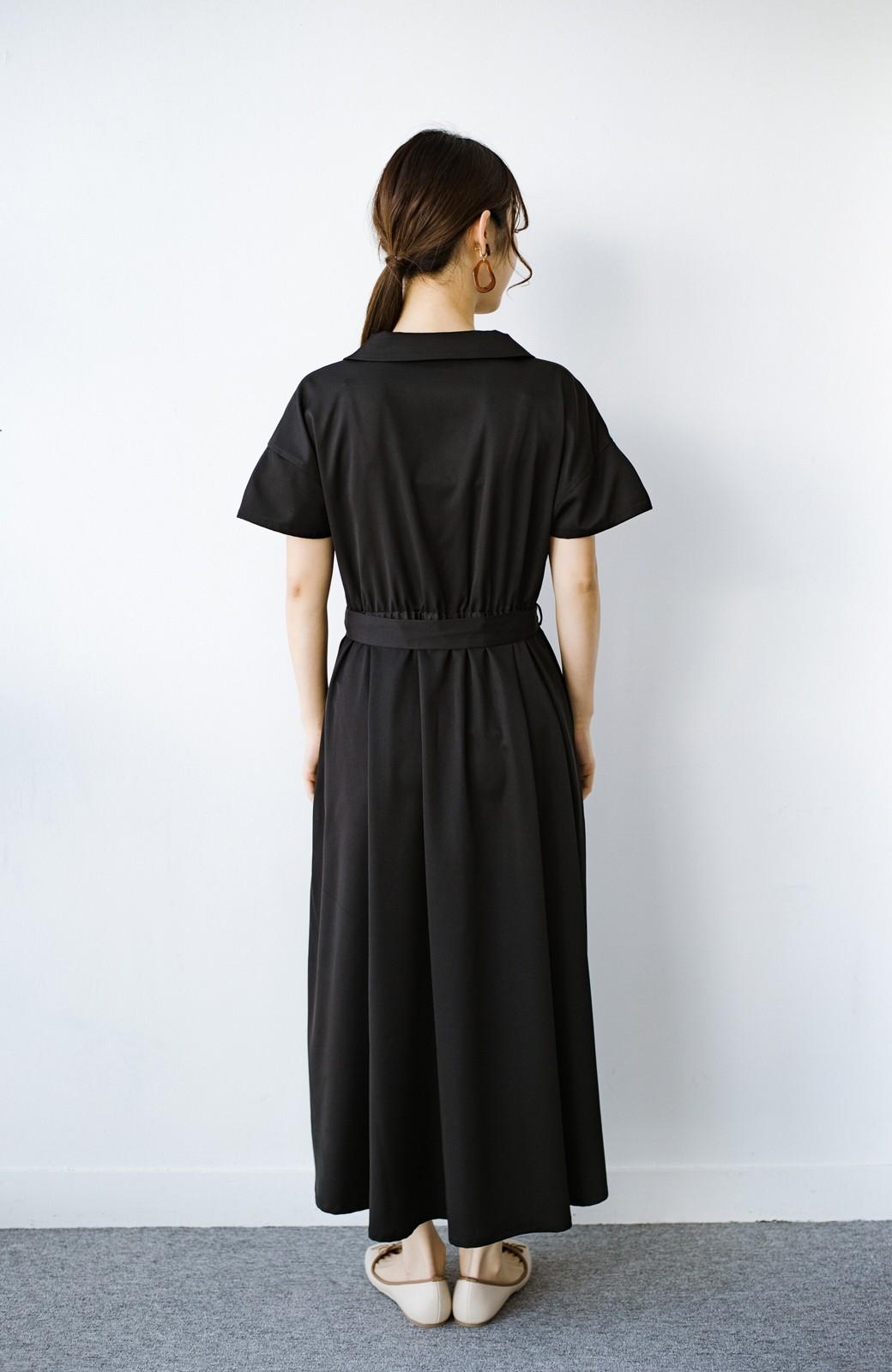 haco! きちんとしなきゃいけないけど可愛くいたいときに便利な とろみ素材の開衿ワンピース <ブラック>の商品写真12