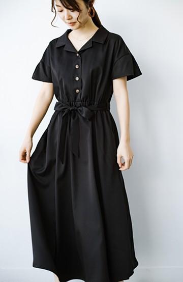 haco! きちんとしなきゃいけないけど可愛くいたいときに便利な とろみ素材の開衿ワンピース <ブラック>の商品写真