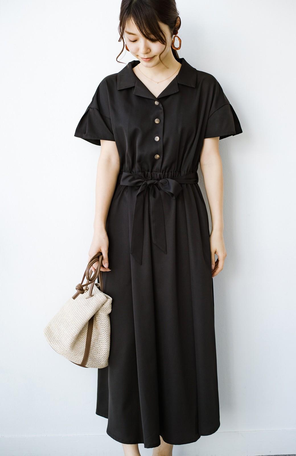 haco! きちんとしなきゃいけないけど可愛くいたいときに便利な とろみ素材の開衿ワンピース <ブラック>の商品写真3