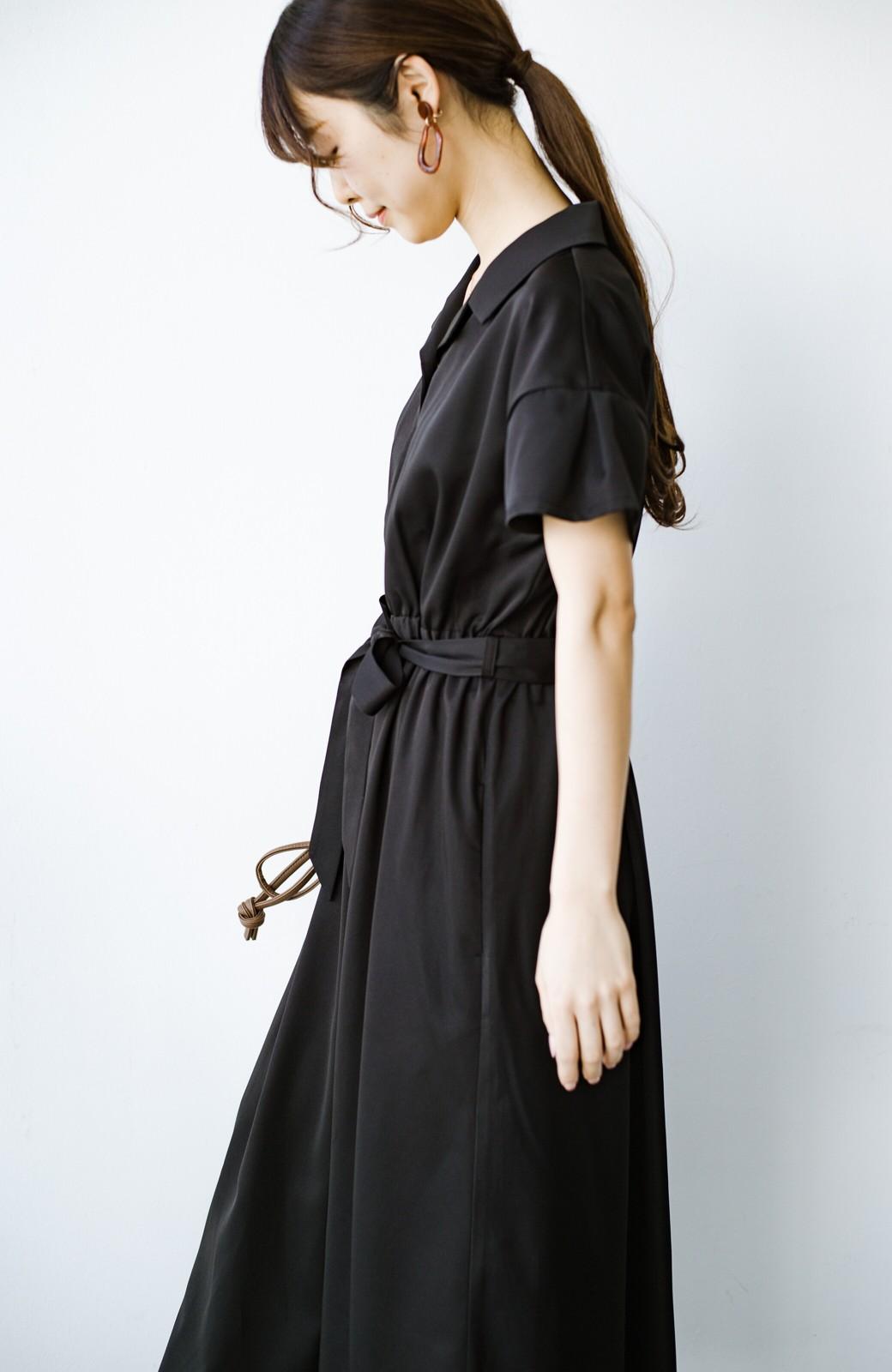 haco! きちんとしなきゃいけないけど可愛くいたいときに便利な とろみ素材の開衿ワンピース <ブラック>の商品写真13