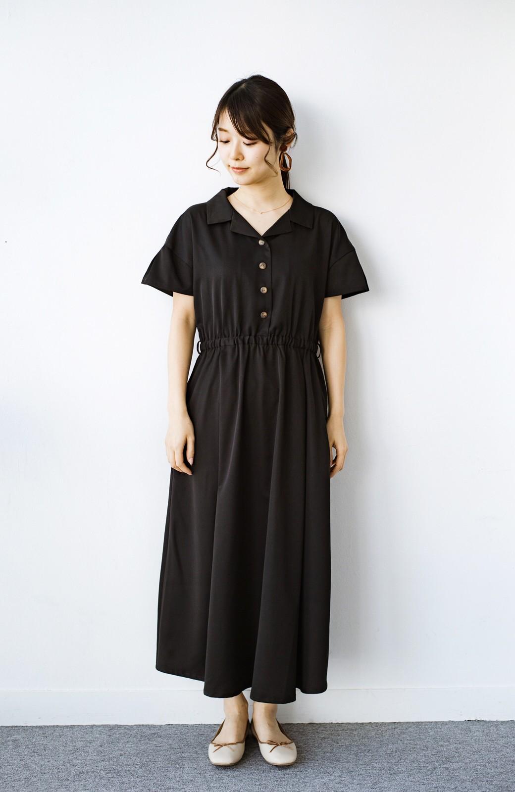 haco! きちんとしなきゃいけないけど可愛くいたいときに便利な とろみ素材の開衿ワンピース <ブラック>の商品写真5