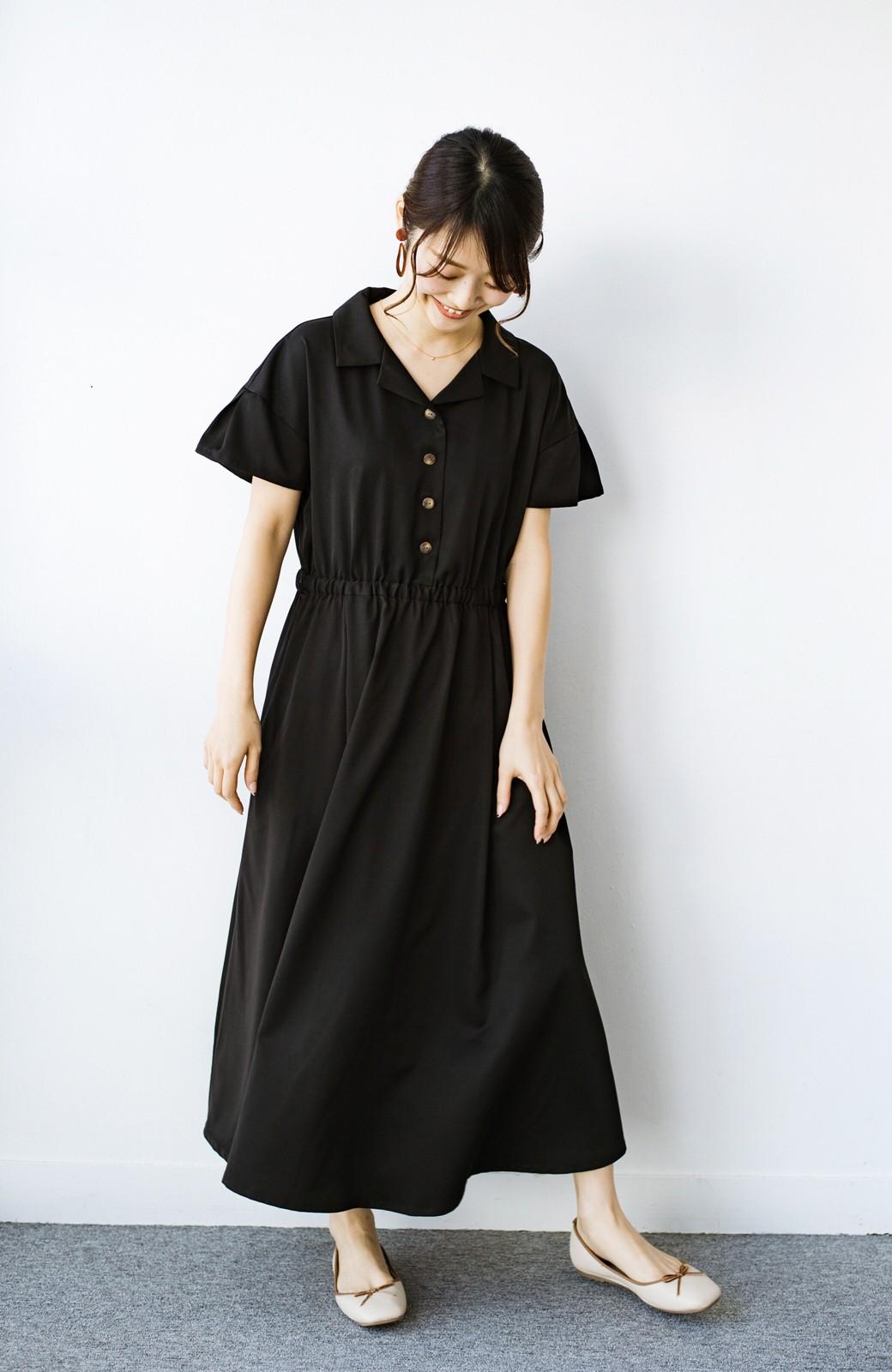 haco! きちんとしなきゃいけないけど可愛くいたいときに便利な とろみ素材の開衿ワンピース <ブラック>の商品写真6