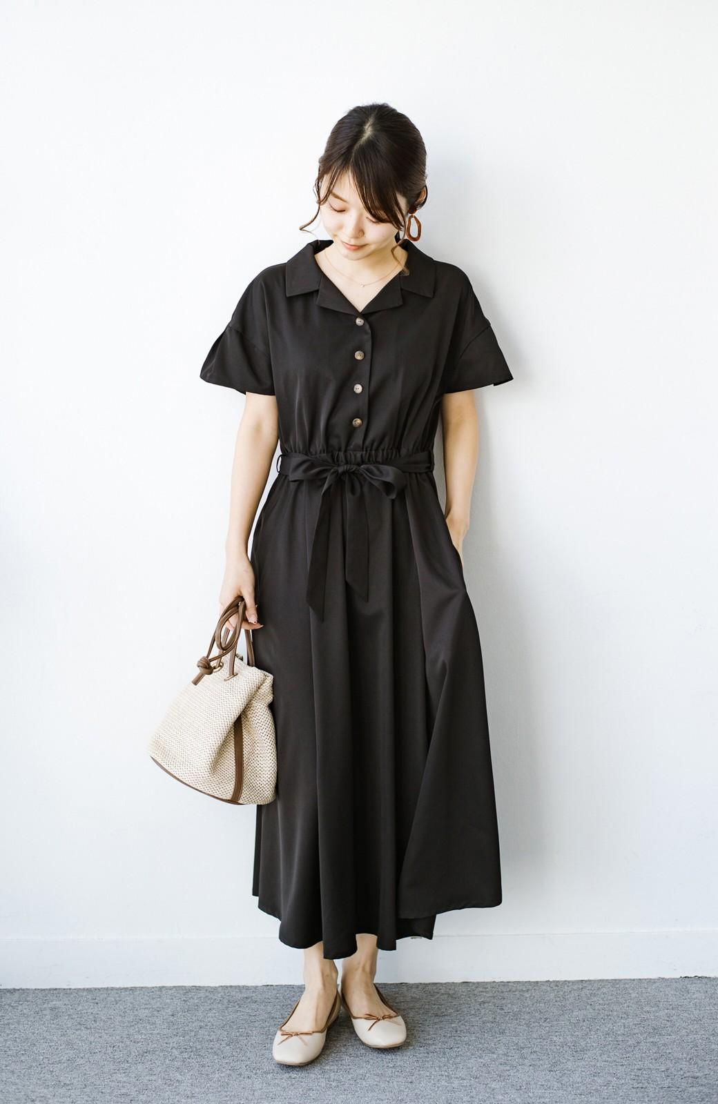 haco! きちんとしなきゃいけないけど可愛くいたいときに便利な とろみ素材の開衿ワンピース <ブラック>の商品写真8