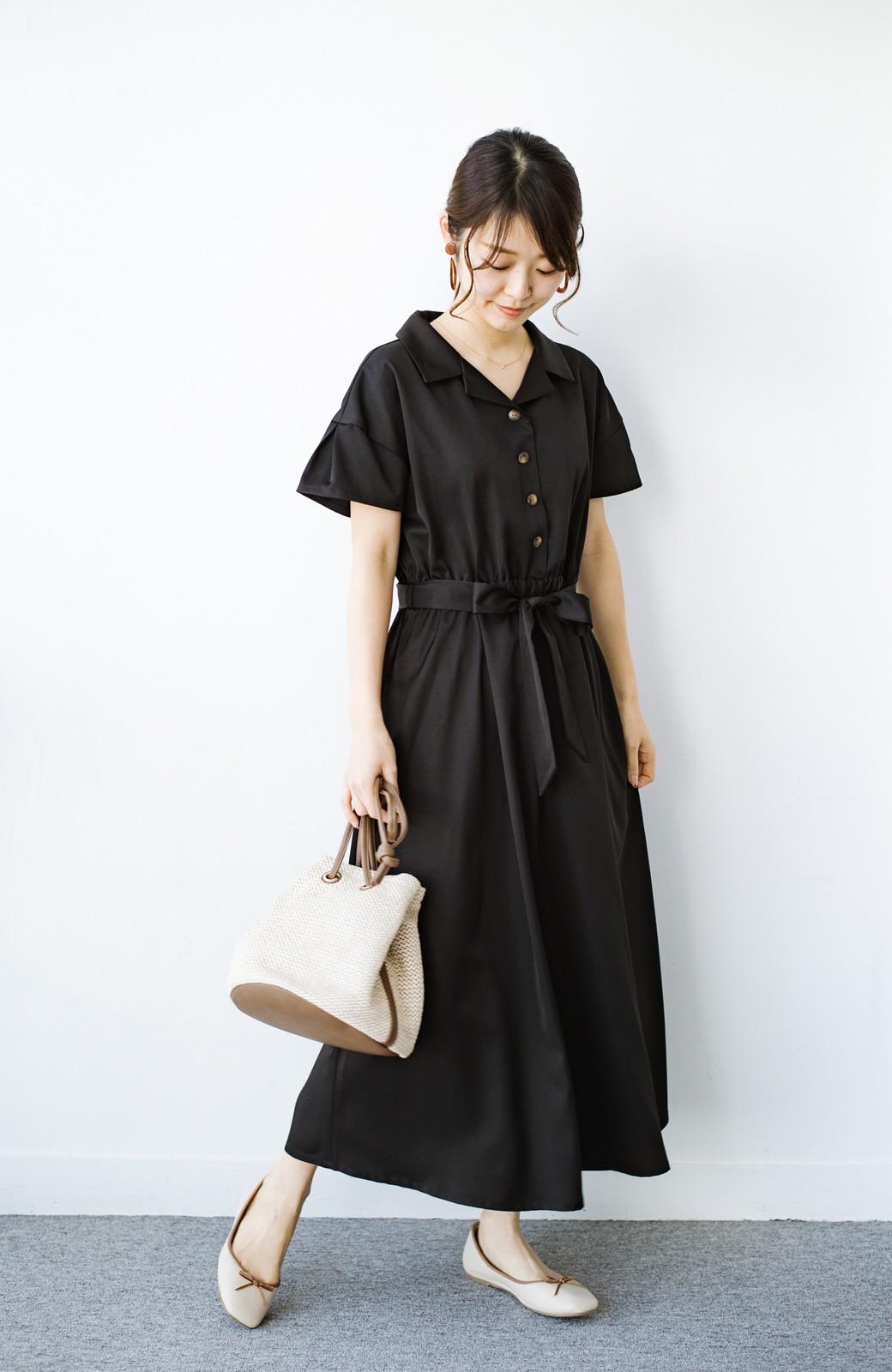 haco! きちんとしなきゃいけないけど可愛くいたいときに便利な とろみ素材の開衿ワンピース <ブラック>の商品写真9