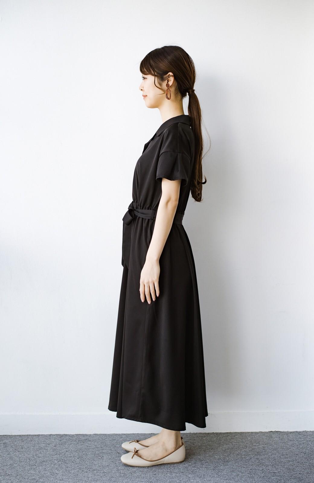 haco! きちんとしなきゃいけないけど可愛くいたいときに便利な とろみ素材の開衿ワンピース <ブラック>の商品写真10