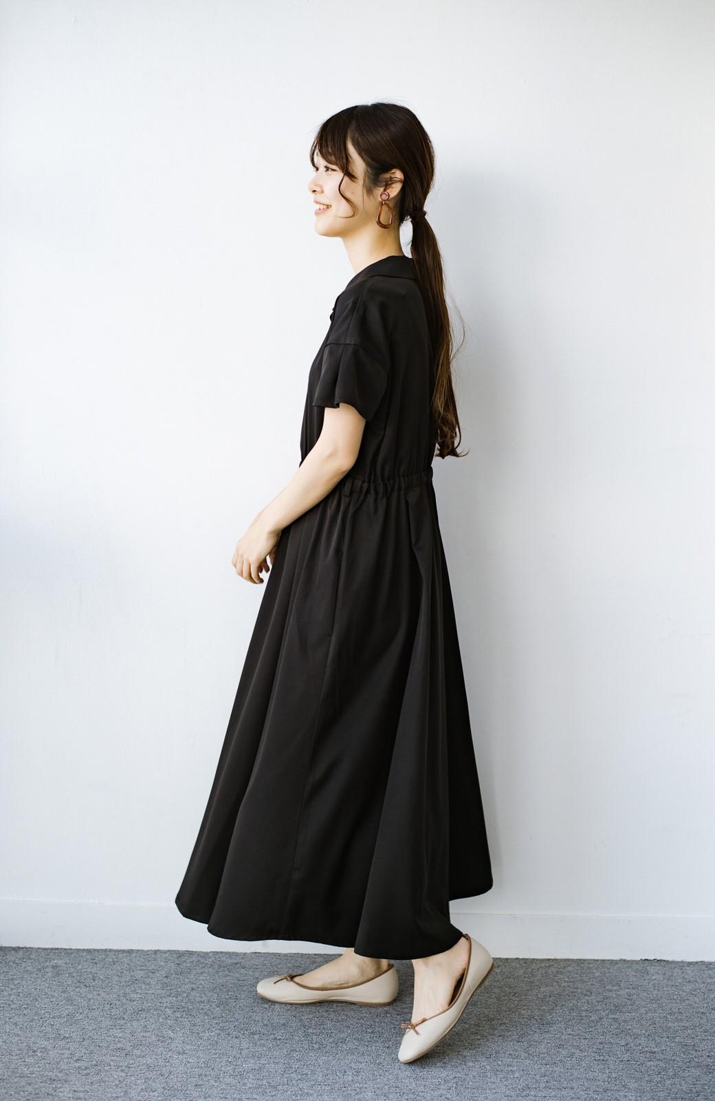 haco! きちんとしなきゃいけないけど可愛くいたいときに便利な とろみ素材の開衿ワンピース <ブラック>の商品写真11