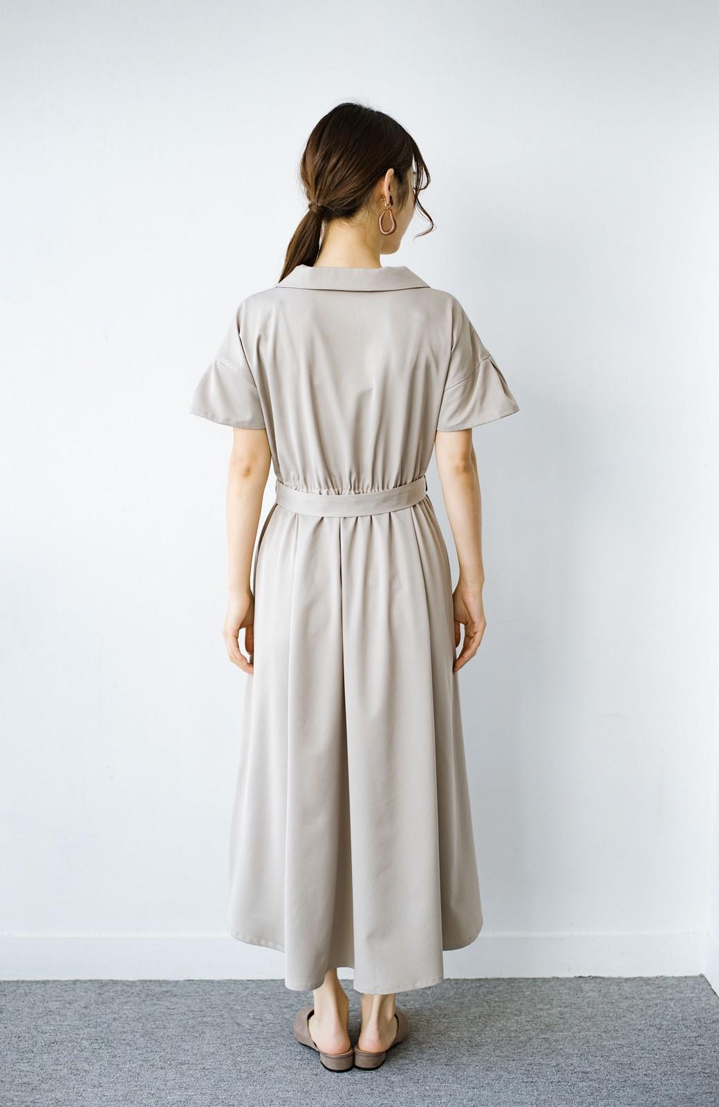 haco! きちんとしなきゃいけないけど可愛くいたいときに便利な とろみ素材の開衿ワンピース <ベージュ>の商品写真14
