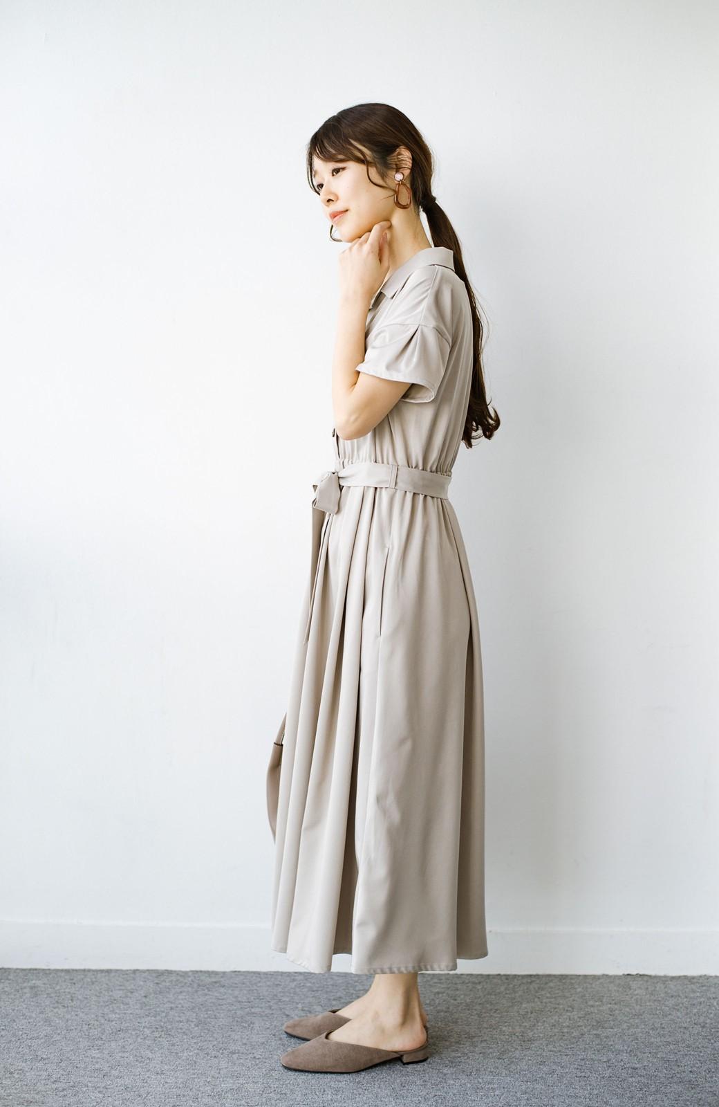haco! きちんとしなきゃいけないけど可愛くいたいときに便利な とろみ素材の開衿ワンピース <ベージュ>の商品写真9