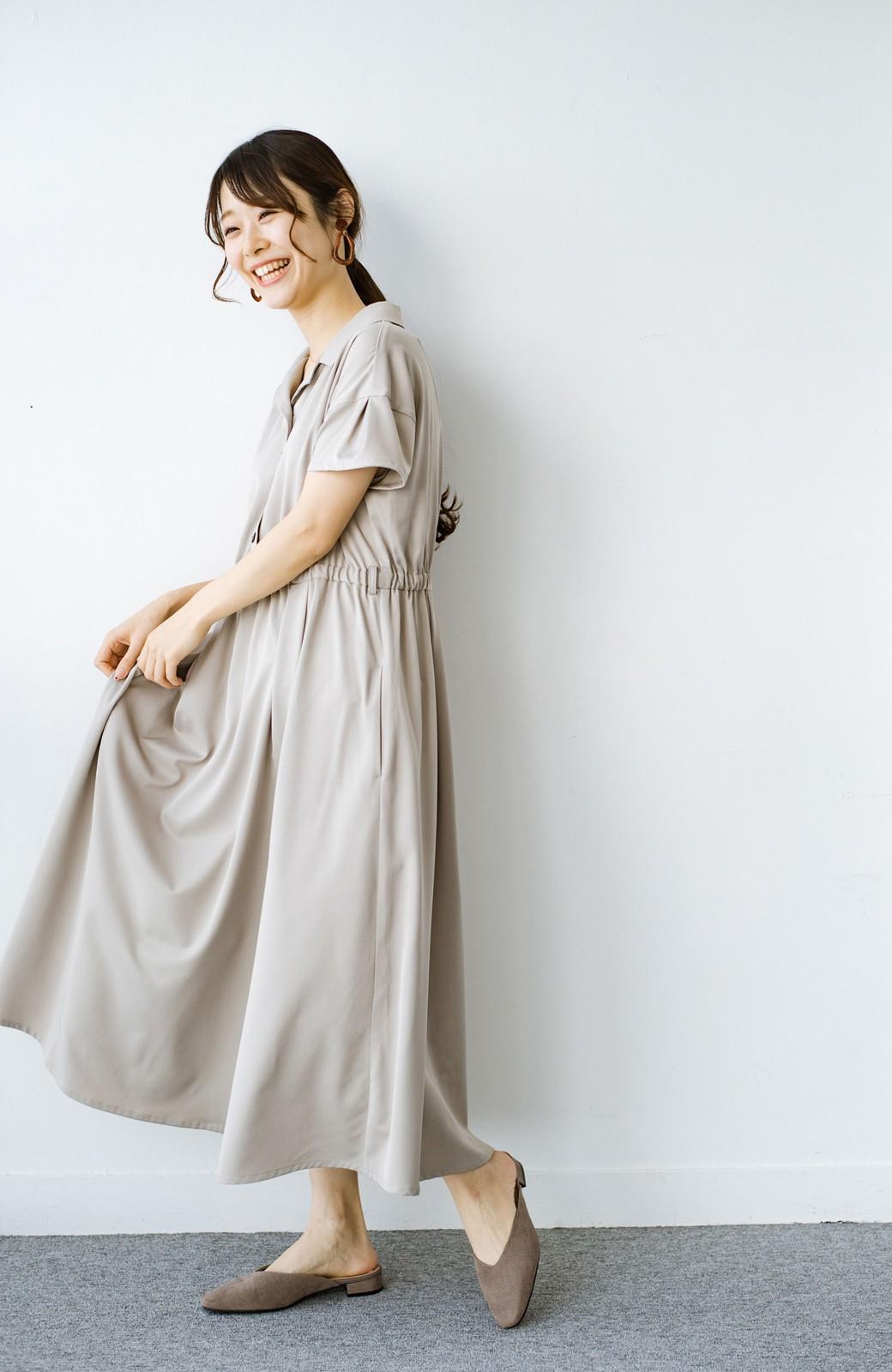 haco! きちんとしなきゃいけないけど可愛くいたいときに便利な とろみ素材の開衿ワンピース <ベージュ>の商品写真11