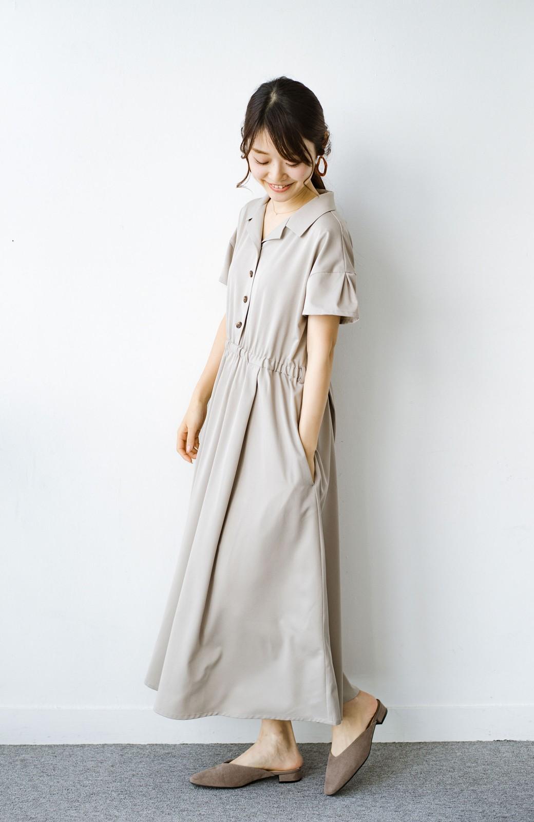 haco! きちんとしなきゃいけないけど可愛くいたいときに便利な とろみ素材の開衿ワンピース <ベージュ>の商品写真13