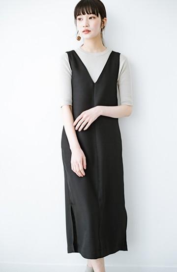 haco! 何てことないTシャツと重ねるだけでパッとかわいくなれる 魔法のようなジャンパースカート <ブラック>の商品写真