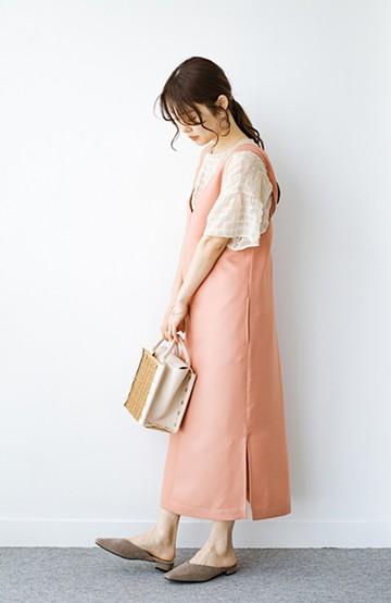 haco! 何てことないTシャツと重ねるだけでパッとかわいくなれる 魔法のようなジャンパースカート <オレンジ>の商品写真