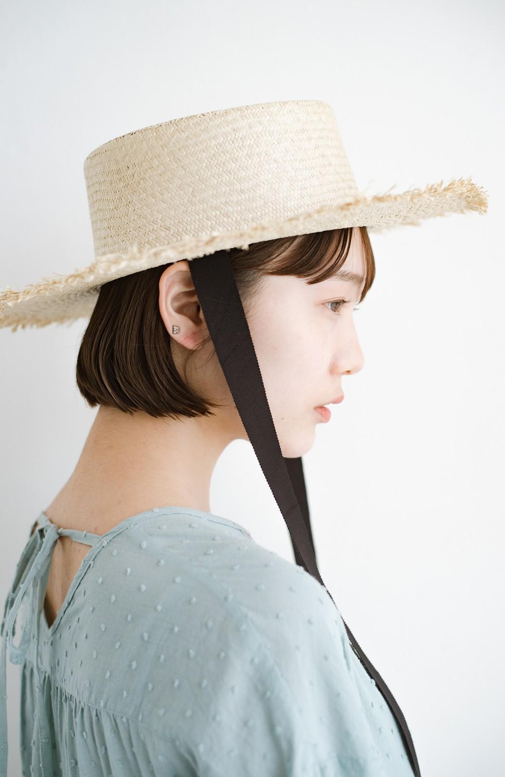 haco! odds 長めリボンがかわいい大人のカンカン帽 <ナチュラル>の商品写真4