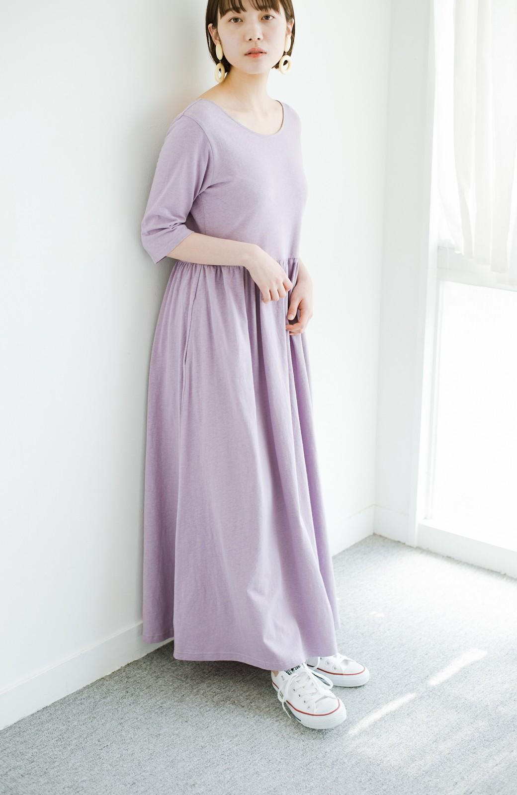 haco! こっそり色っぽ忍ばせて すぽっと着るだけで大人かわいい背中開きワンピース <ラベンダー>の商品写真17