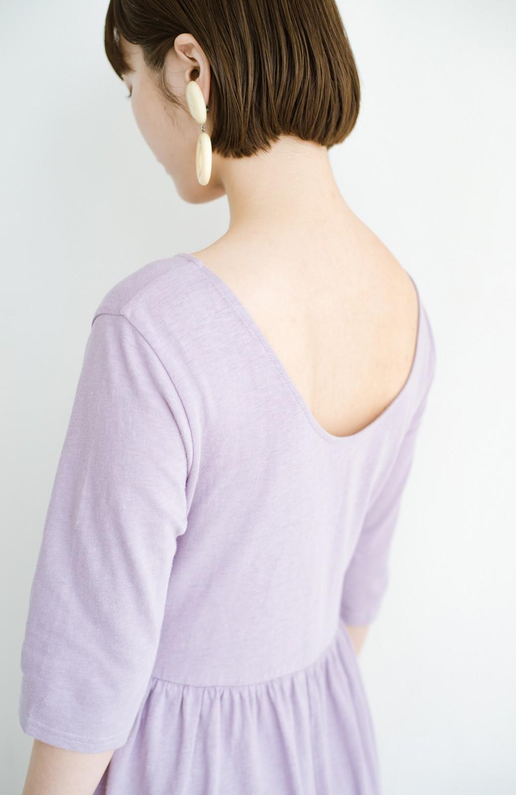 haco! こっそり色っぽ忍ばせて すぽっと着るだけで大人かわいい背中開きワンピース <ラベンダー>の商品写真2
