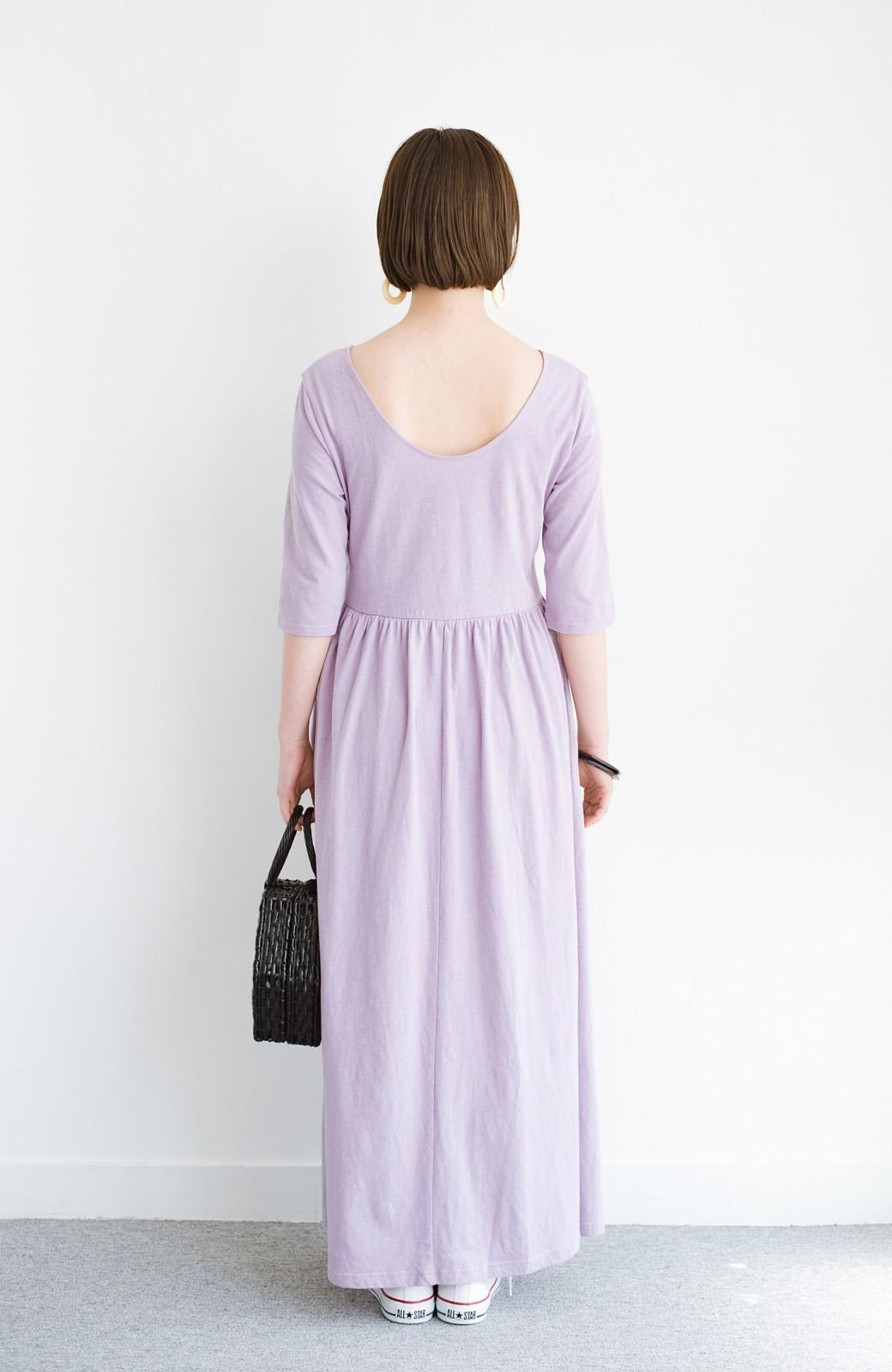 haco! こっそり色っぽ忍ばせて すぽっと着るだけで大人かわいい背中開きワンピース <ラベンダー>の商品写真10