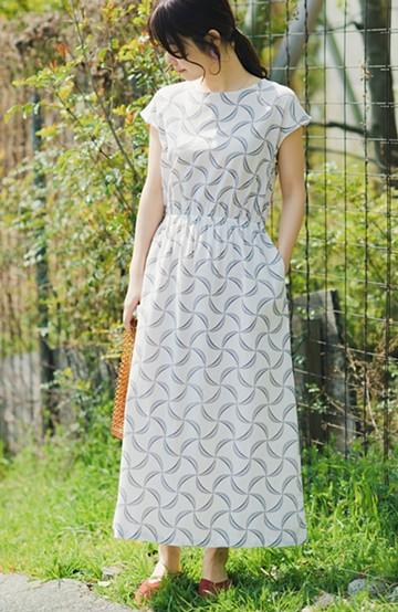 haco! 京都の浴衣屋さんと作った浴衣生地のウエストマークワンピース <ホワイト系その他>の商品写真