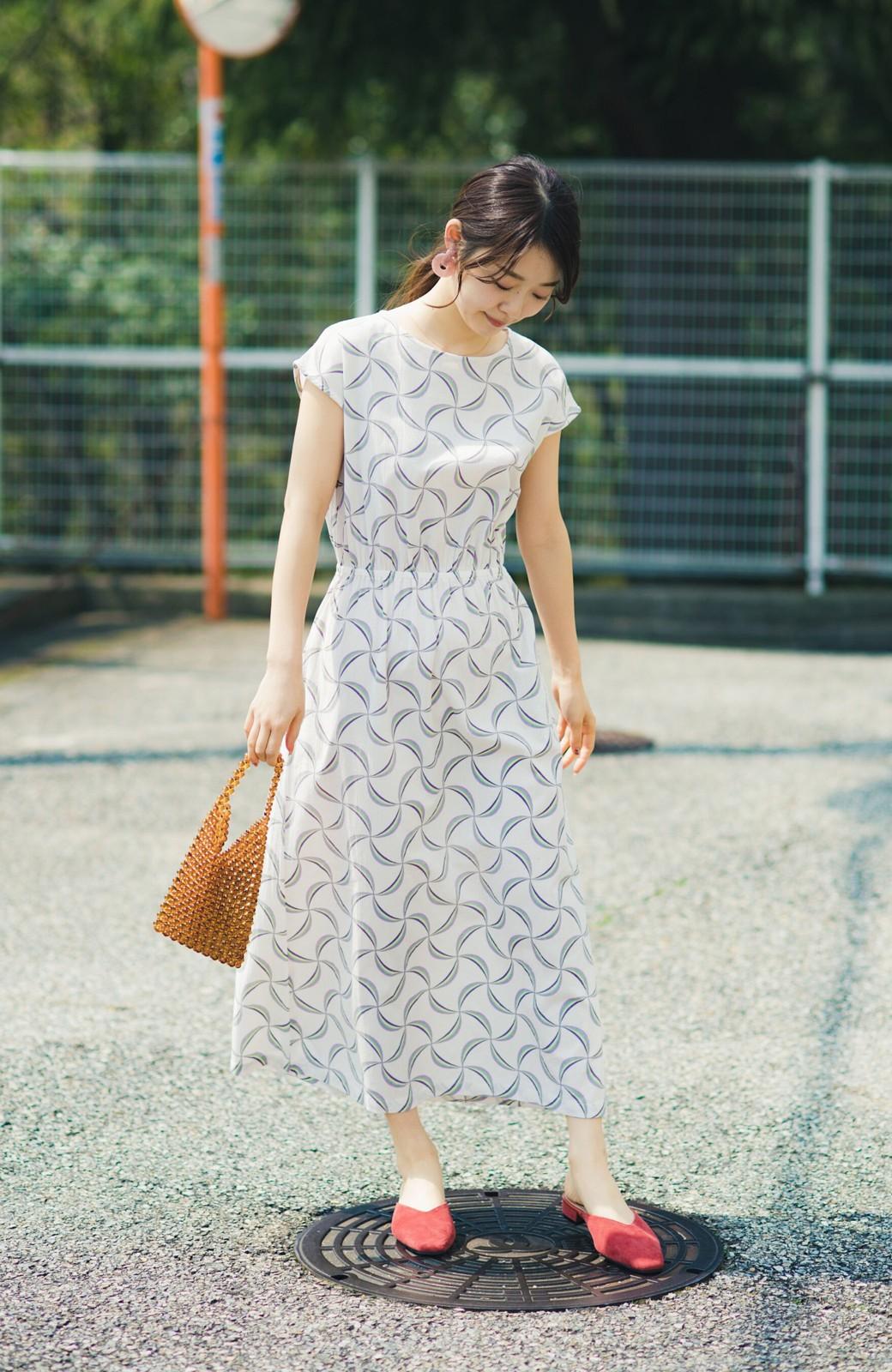 haco! 京都の浴衣屋さんと作った浴衣生地のウエストマークワンピース <ホワイト系その他>の商品写真3