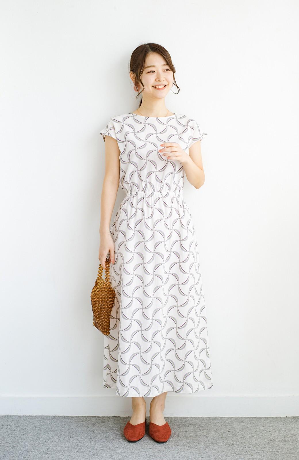 haco! 京都の浴衣屋さんと作った浴衣生地のウエストマークワンピース <ホワイト系その他>の商品写真11