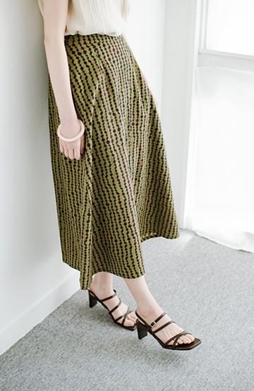 haco! 京都の浴衣屋さんと作った浴衣生地のフレアーロングスカート <グリーン系その他>の商品写真