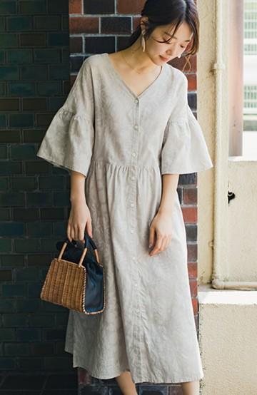 haco! 京都の浴衣屋さんと作った浴衣生地の羽織りにもなるワンピース <ライトベージュ>の商品写真