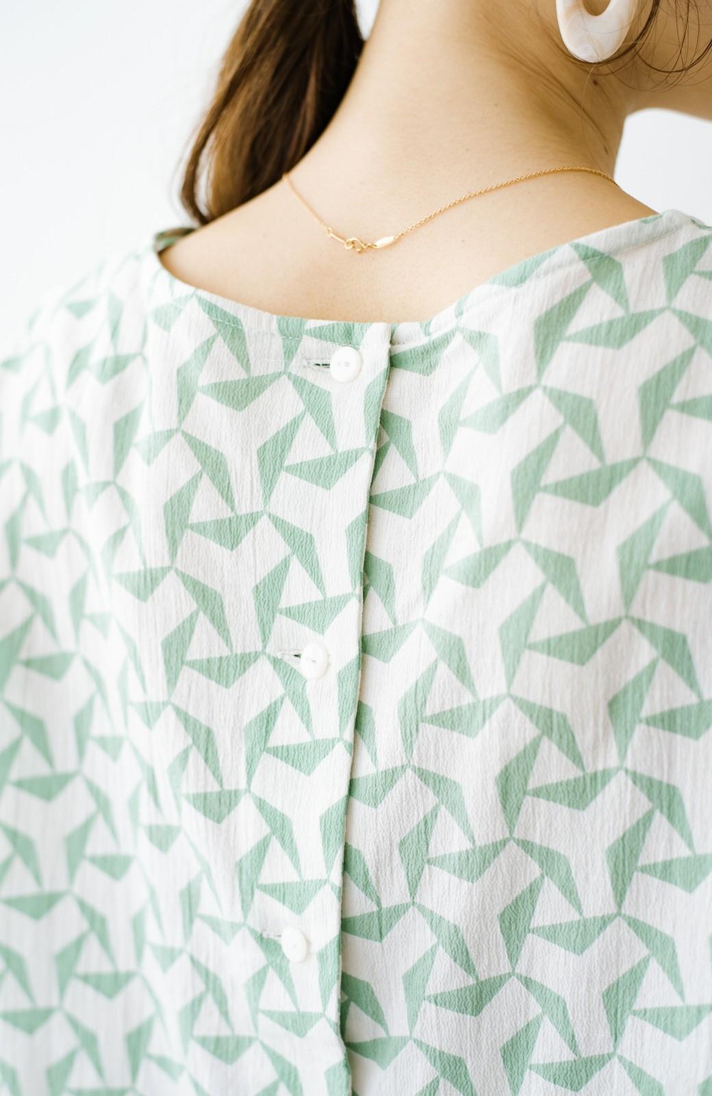 haco! 京都の浴衣屋さんと作った浴衣生地の後ろボタンブラウス <ホワイト×グリーン>の商品写真5