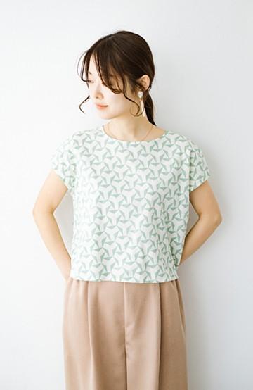haco! 京都の浴衣屋さんと作った浴衣生地の後ろボタンブラウス <ホワイト×グリーン>の商品写真