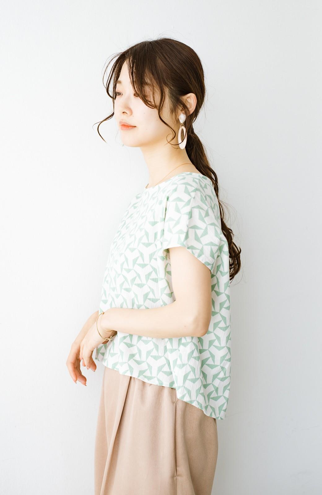 haco! 京都の浴衣屋さんと作った浴衣生地の後ろボタンブラウス <ホワイト×グリーン>の商品写真11