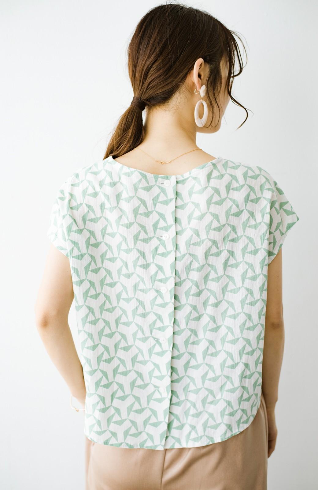 haco! 京都の浴衣屋さんと作った浴衣生地の後ろボタンブラウス <ホワイト×グリーン>の商品写真12