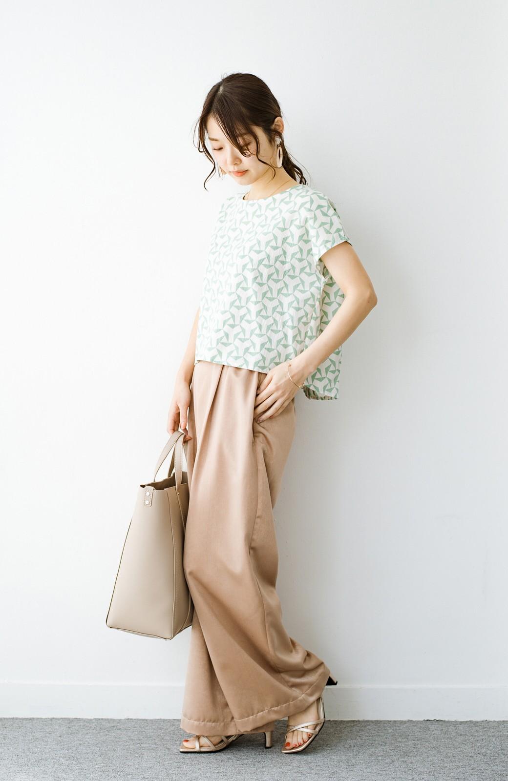 haco! 京都の浴衣屋さんと作った浴衣生地の後ろボタンブラウス <ホワイト×グリーン>の商品写真7