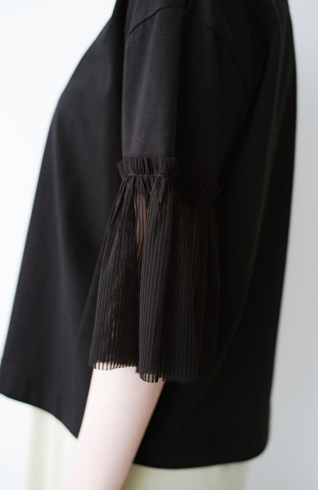 haco! ほんのり透けるストライプ袖が女っぽい 異素材カットソートップス <ブラック>の商品写真5