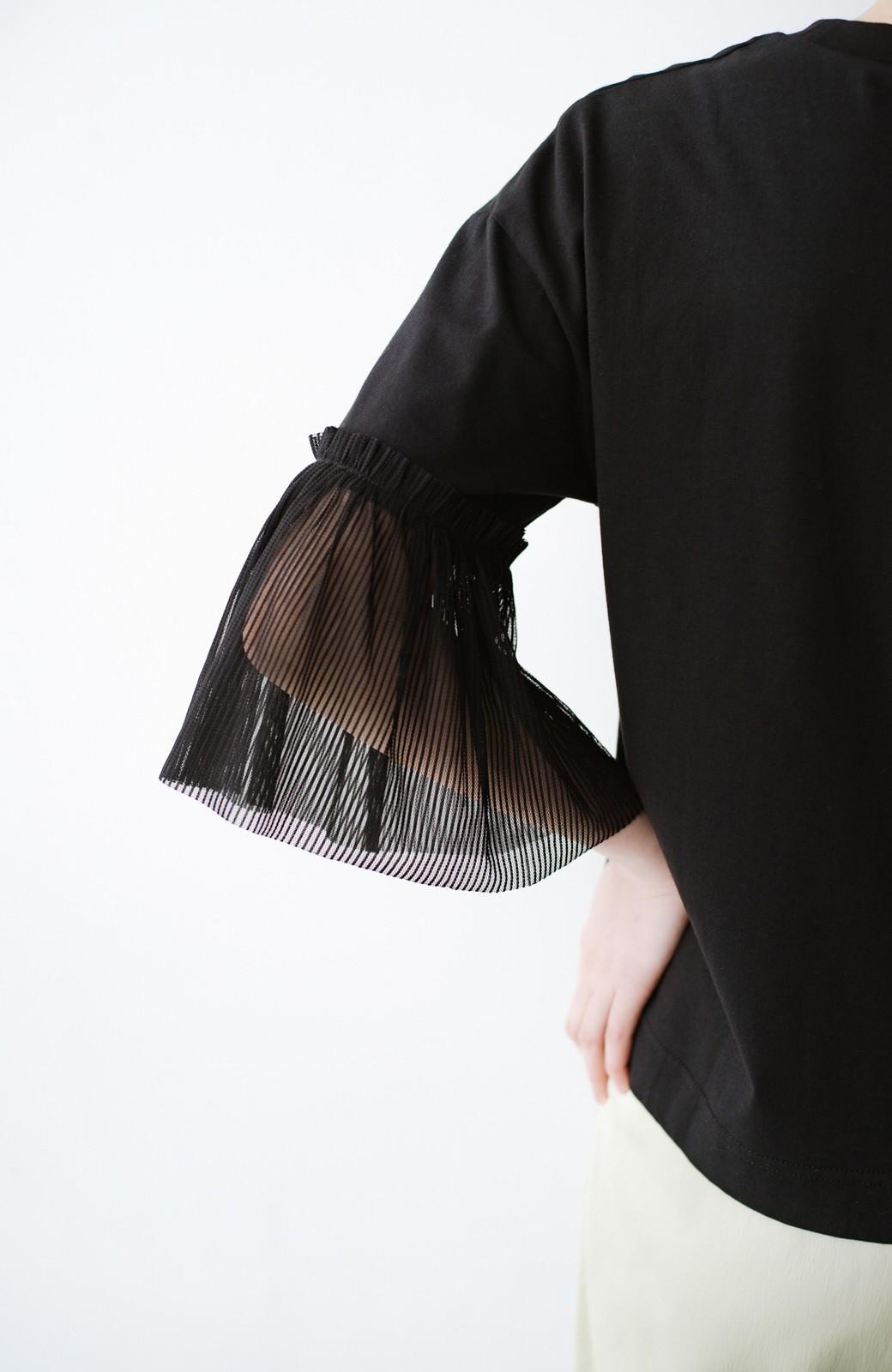 haco! ほんのり透けるストライプ袖が女っぽい 異素材カットソートップス <ブラック>の商品写真6