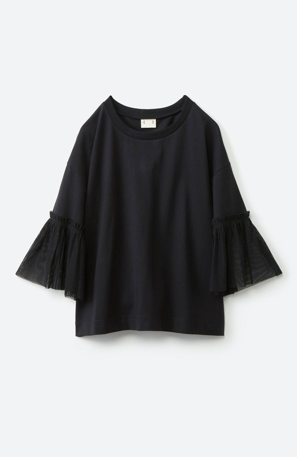 haco! ほんのり透けるストライプ袖が女っぽい 異素材カットソートップス <ブラック>の商品写真13
