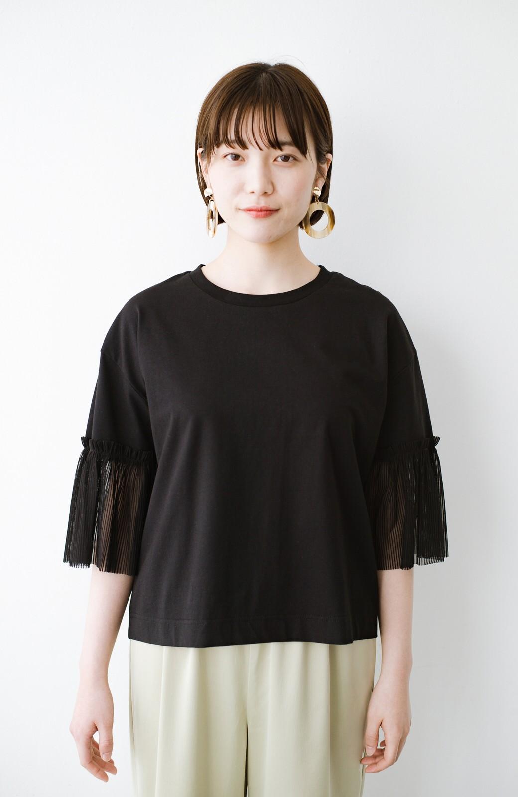 haco! ほんのり透けるストライプ袖が女っぽい 異素材カットソートップス <ブラック>の商品写真11