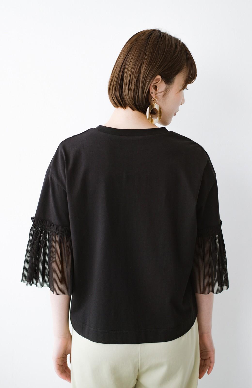 haco! ほんのり透けるストライプ袖が女っぽい 異素材カットソートップス <ブラック>の商品写真12
