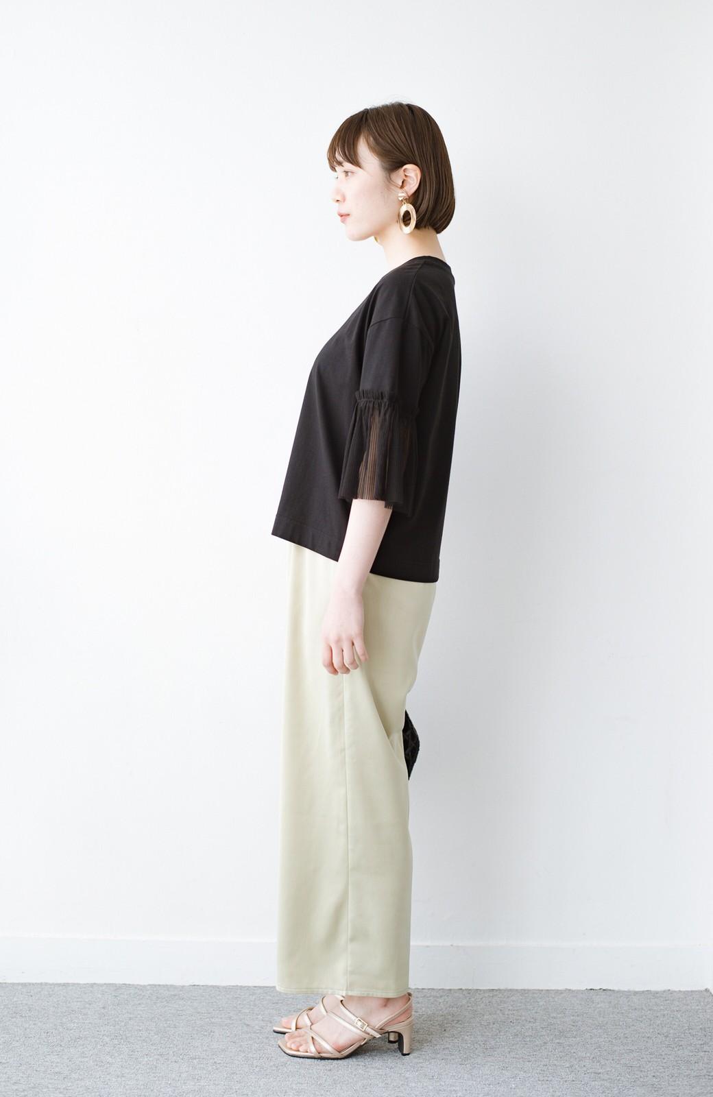 haco! ほんのり透けるストライプ袖が女っぽい 異素材カットソートップス <ブラック>の商品写真8
