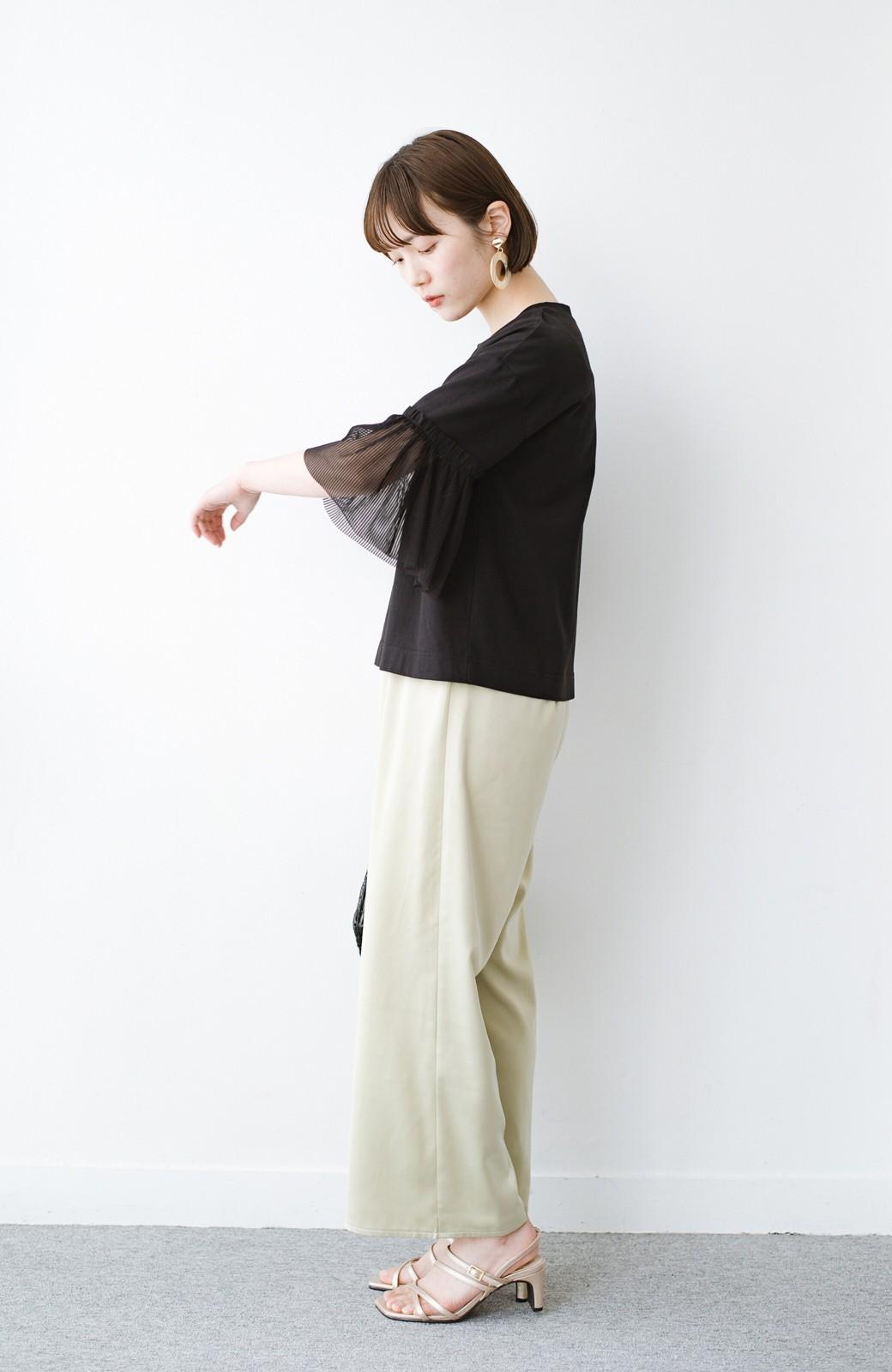 haco! ほんのり透けるストライプ袖が女っぽい 異素材カットソートップス <ブラック>の商品写真9