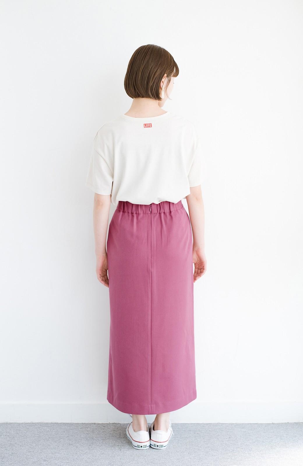 haco! カジュアルにもきれいめにも着られて便利 スリットが女っぽいセミタイトスカート <ピンク>の商品写真13