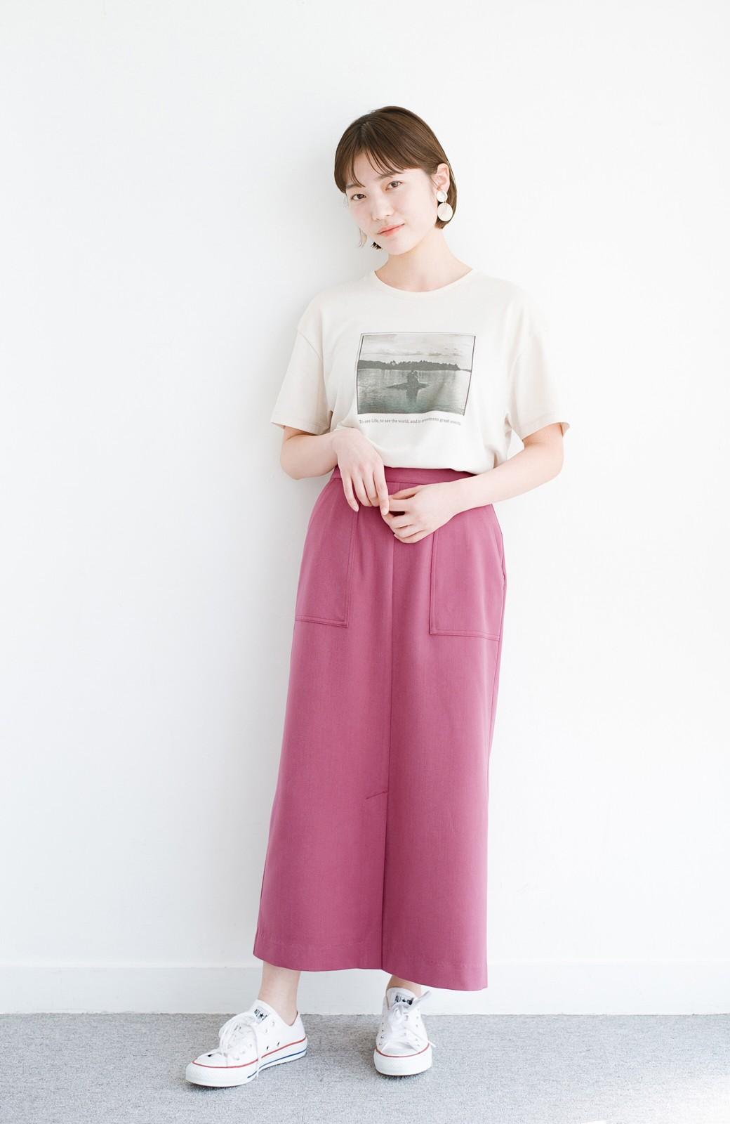 haco! カジュアルにもきれいめにも着られて便利 スリットが女っぽいセミタイトスカート <ピンク>の商品写真9