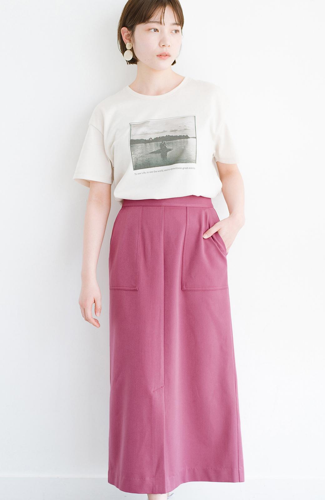 haco! カジュアルにもきれいめにも着られて便利 スリットが女っぽいセミタイトスカート <ピンク>の商品写真1