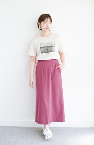 haco! カジュアルにもきれいめにも着られて便利 スリットが女っぽいセミタイトスカート <ピンク>の商品写真