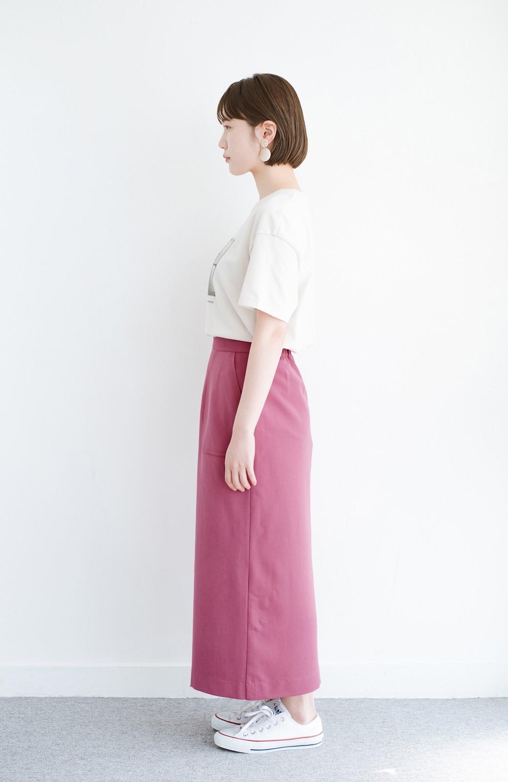 haco! カジュアルにもきれいめにも着られて便利 スリットが女っぽいセミタイトスカート <ピンク>の商品写真11